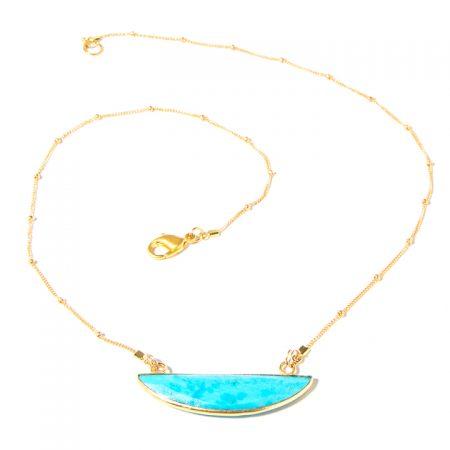 873121N Turquoise Half Moon Pendant on Gold Chain by La Isla Jewelry
