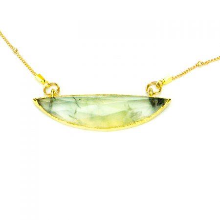 873213N Prehinite Half Moon Pendant on Gold Chain Close Up by La Isla Jewelry