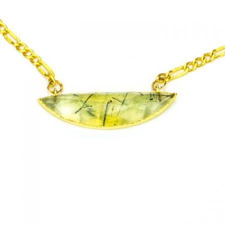 873214N Prehinite Half Moon Pendant on Gold Chain Close Up by La Isla Jewelry