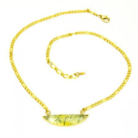 873214N Prehinite Half Moon Pendant on Gold Chain by La Isla Jewelry