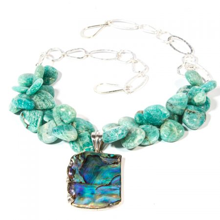 773125N Amazonite and Abalone Pendant Necklace by La Isla Jewelry