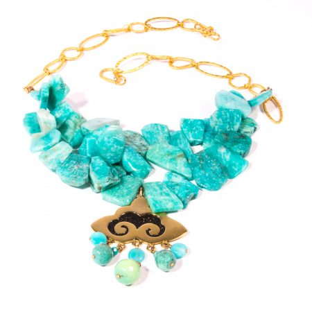 773126N Amazonite Slices Gold Chain Pendant Necklace