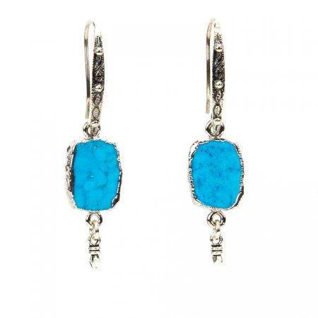 871102E Turquoise and Silver Dangles Hanging View by La Isla Jewelry