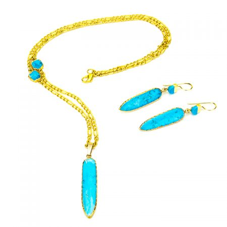 Turquoise Dagger Gold Necklace and Earrings by La Isla Jewelry