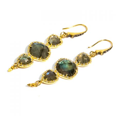 1671235E Multi Tier Labradorite CZ Gold Earrings by La Isla Jewelry