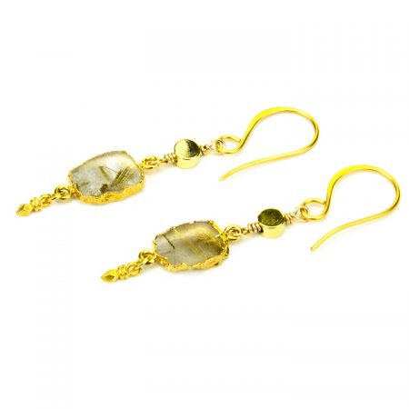 Gold Rutilated Quartz Dangling Earrings