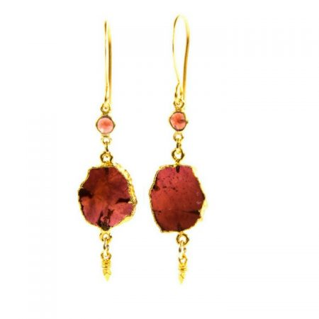 Garnet Dangle Gold Earrings