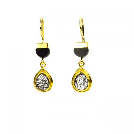 871209E Tourmilated Quartz Earrings with Spinel Gold Hanging View by La Isla Jewelry
