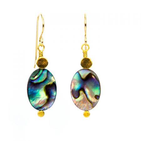 871214E Abalone Gold Drop Earrings by La Isla Jewelry