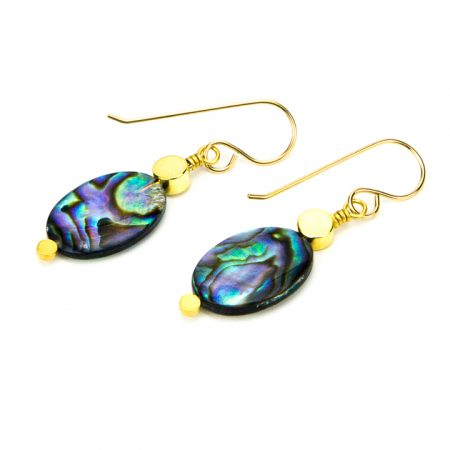 871214E Abalone Gold Earrings by La Isla Jewelry