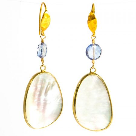 Mother of Pearl and Iolite Gold Drop Earrings