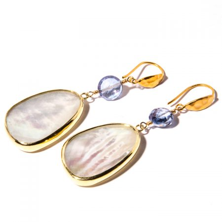 Mother of Pearl and Iolite Gold Earrings
