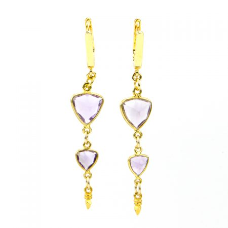 Amethyst Gemstone Drop Earrings by La Isla Jewelry