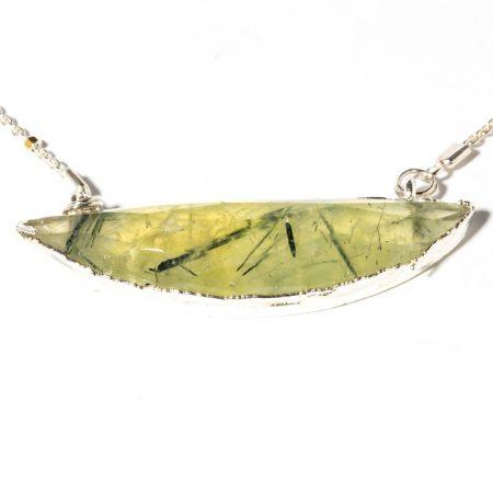 873117N Silver Prehinite Pendant Close Up by La Isla Jewelry