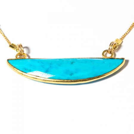 873121N Gold Turquoise Pendant Close Up by La Isla Jewelry
