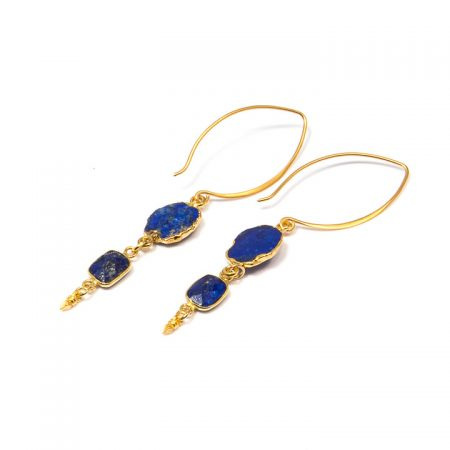 884247E Blue Lapis Gold Dangle Earrings by La Isla Jewelry