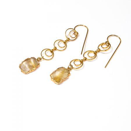 891211E Rutilated Quartz Slices on Gold Chain Earrings by La Isla Jewelry