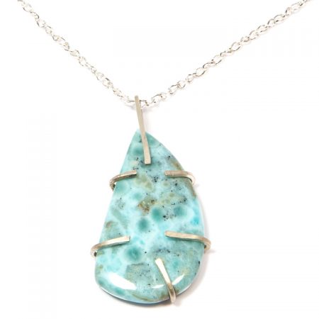 482103P Larimar Prong Set Pendant Necklace by La Isla Jewelry
