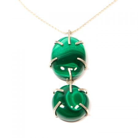482104P Double Malachite Prong Set Pendant on Sterling Silver Chain Necklace by La Isla Jewelry