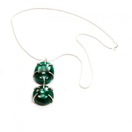 482104P Double Malachite Prong Set Pendant on Sterling Silver Chain by La Isla Jewelry