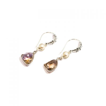681122E Ametrine Pearl Silver Earrings by La Isla Jewelry