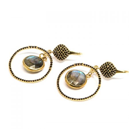 681210E Spinel Labradorite Gold Hoop Earring by La Isla Jewelry