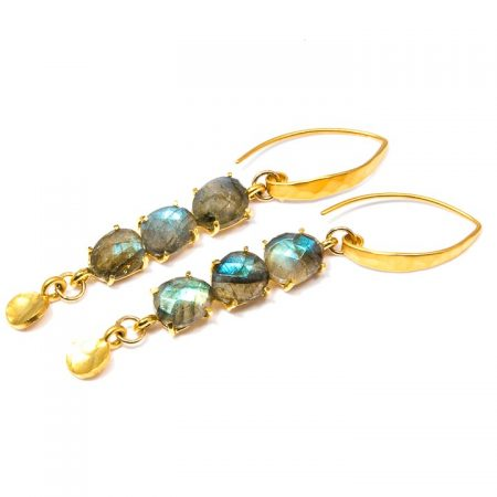 681218E Multi-Stone Labradorite Gold Earrings by La Isla Jewelry