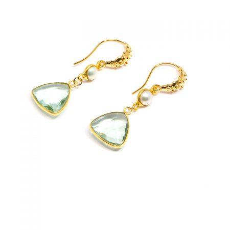 681229E Fluorite and Pearl Silver Earrings by La Isla Jewelry