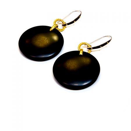 681234E Black Onyx Round Drop Gold Earrings by La Isla Jewelry