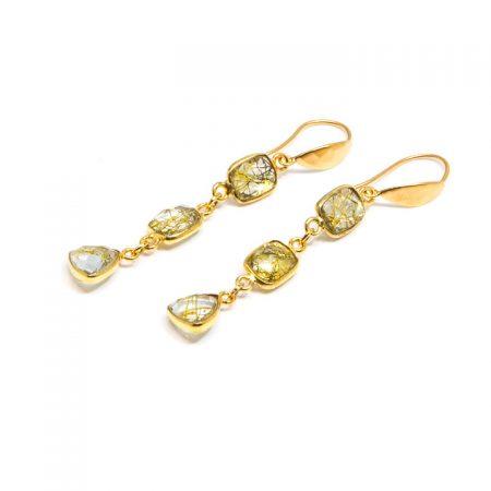 682227E Golden Rutilated Quartz Tiered Earrings by La Isla Jewelry