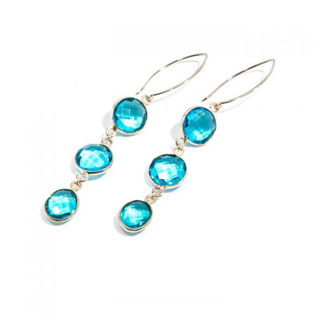 881123E Sterling Silver Triple Tier Blue Topaz Earrings by La Isla Jewelry