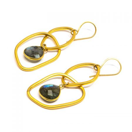 882207E Labradorite Dangle on Gold Hoop Earrings by La Isla Jewelry
