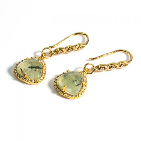 1671227E Prehinite CZ Gold Earrings by La Isla Jewelry