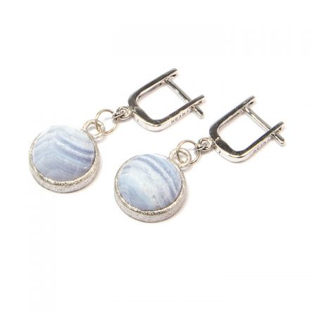 672155E Blue Lace Agate Silver Drop Earrings by La Isla Jewelry