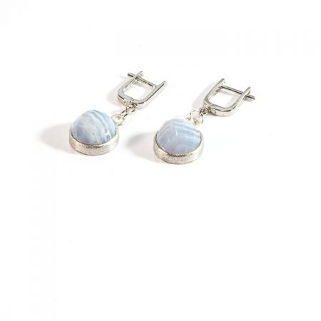 672155E Blue Lace Agate Silver Drop Earrings by La Isla Jewelry