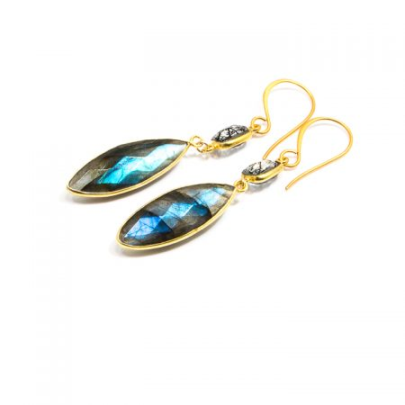 681212E Marquis Labradorite and Spinel Gold Earrings by La Isla Jewelry