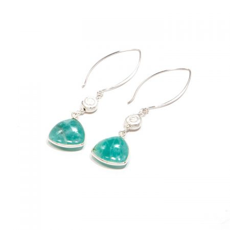 681231E Russian Amazonite Silver Marquis Earrings by La Isla Jewelry