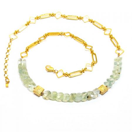885217 Prehinite Gold Chain Necklace by La Isla Jewelry