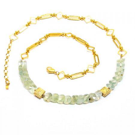 885217 Prehinite Gold Chain Necklace by La Isla Jewelry