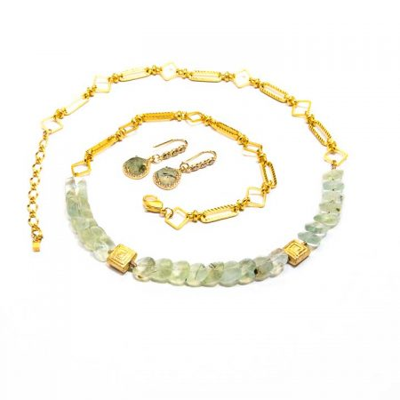 Prehinite Gold Chain Necklace and Earrings by La Isla Jewelry