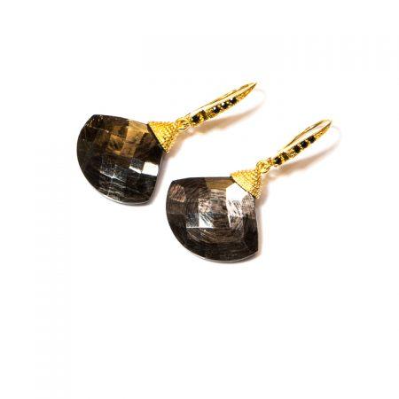 691206EHypersthene Fan Gold Earrings by La Isla Jewelry