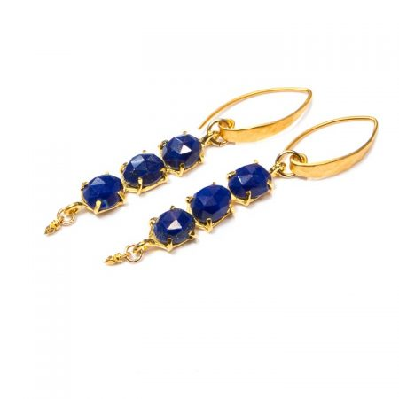 691231E Blue Lapis Multi Stone Gold Earring by La Isla Jewelry