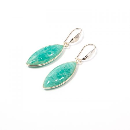791101E Amazonite Marquis Drop Silver Earrings by La Isla Jewelry