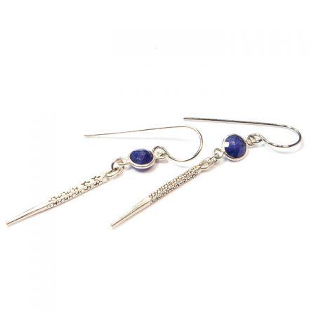 891118E Silver Spike Blue Lapis Earrings by La Isla Jewelry