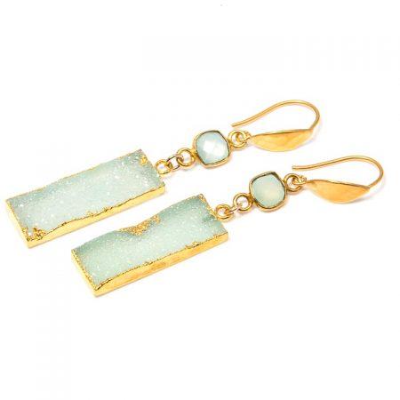 891212E Druzy Chalcedony Rectangular Drop Gold Earrings by La Isla Jewelry
