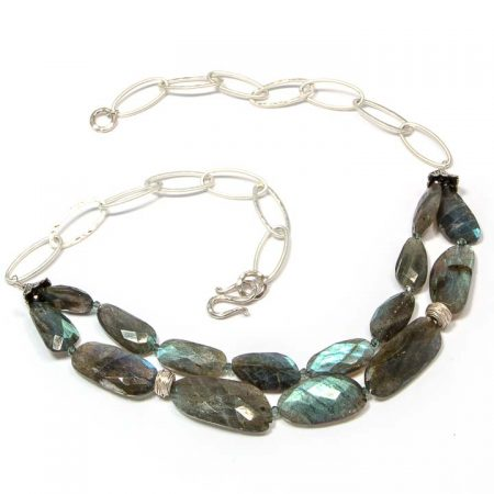 675147N Labradorite Shimmer Silver Necklace by La Isla Jewelry