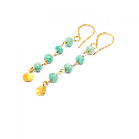 682203E Peruvian Opal Chain Gold Earrings by-La Isla Jewelr