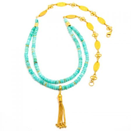 685203N Peruvian Opal Gold Tassel Chain Necklace by La Isla Jewelry