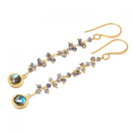 884244E Iolite Gold Chain Earrings by La Isla Jewelry