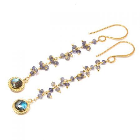 884244E Iolite Gold Chain Earrings by La Isla Jewelry